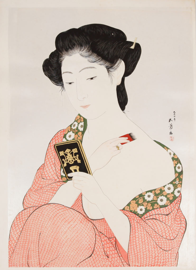 Goyo Hashiguchi, Woman Applying Make-up, Mica Background, printing techniques