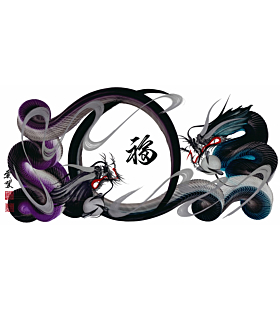 Tetsuya Abe, Dragons, Blue, Purple, Luck, Contemporary Art, Original Japanese ink painting