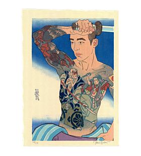 japanese woodblock print, contemporary art, tattoo design, paul binnie