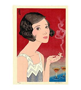 japanese woodblock print, contemporary art, portrait, cocktail, paul binnie