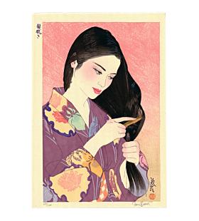 japanese woodblock print, contemporary art, kimono, summer, portrait, paul binnie