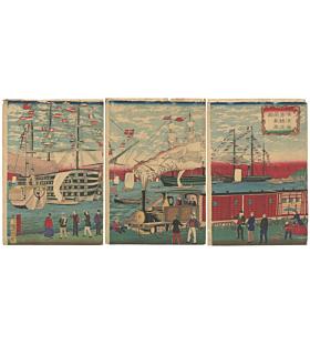 Hiroshige III Utagawa, Steam Train Running Along the Shore at Yokohama