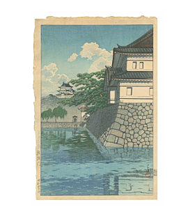 japanese woodblock print, japanese antique, tokyo, landscape, river, hasui kawase, blue