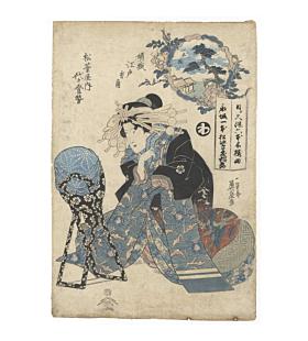 eisen keisai, Courtesan of the Matsubaya-nai House, kimono fashion