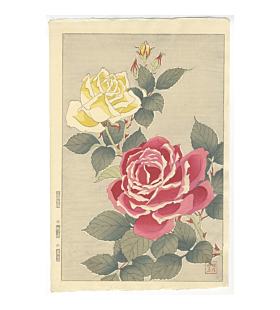 shodo kawarazaki, roses, flower print