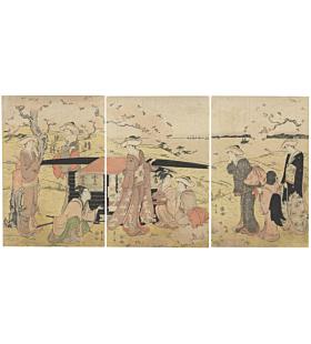 eishi chobunsai, Court ladies in the cherry tree garden, kimono, sakura