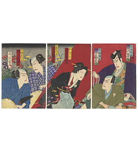 chikanobu yoshu, kabuki play, traditional theatre, japanese actors, japanese design