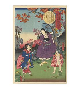 kunisada II, toyokuni IV, kimono, autumn leaves, japanese woodblock print