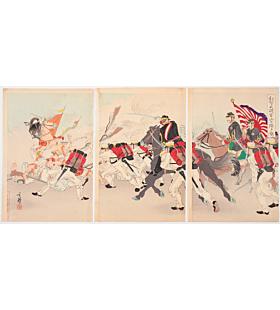 toshihide migita, war print, senso-e, battle, japanese history, japanese imperial army, meiji era