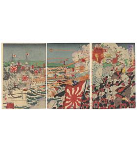 shungyo nagashima, war print, senso-e, battle, japanese history, japanese imperial army, meiji era