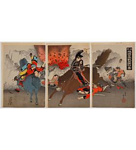 toshimitsu shinsai, war print, senso-e, battle, horse, japanese history, japanese imperial army, meiji period