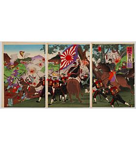 eishu hirai, japanese history, battle, japanese imperial army, meiji era, japanese imperial flag