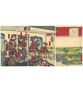 courtesan, japanese landscape, japanese kimono