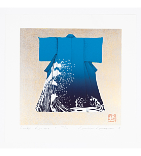 japanese woodblock print, japanese contemporary art, kimono fashion, blue wave, kunio kaneko, gold leaf