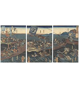 Kuniyoshi Utagawa, Minamoto no Yoshitsune Retrieves Bow