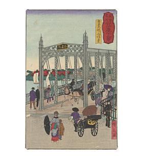 hiroshige III utagawa, azuma bridge, meiji era , landscape, cityscape, tokyo