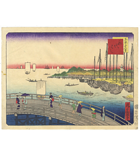 shosai ikkei, eitai bridge, famous views of tokyo, landscape, boats, seascape