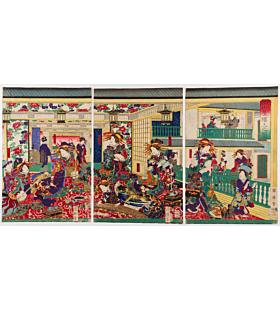 kuniteru II utagawa, courtesans, tea house, music