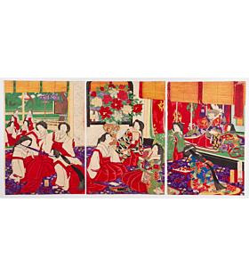 chikanobu yoshu, court ladies, meiji era