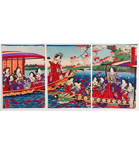 chikanobu yoshu, sumida river, court ladies
