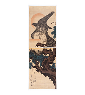 kuniyoshi utagawa, hawk on pine tree, good fortune