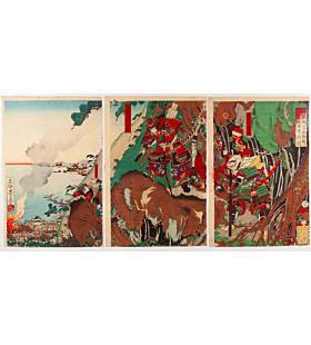 yoshifuji utagawa, battle of ichinotani, warrior, samurai