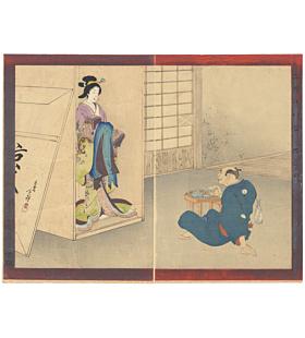 toshihige migita, carver, beautiful woman, sculpture, japan, woodblock print, ukiyo-e