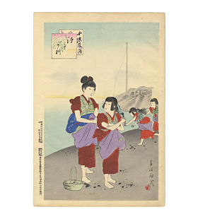 shuntei, kimono, children, japanese woodbclock print, japanese antique