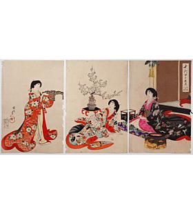 chikanobu yoshu, chiyoda inner palace, kimono design, new year