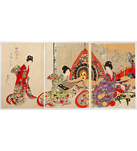 chikanobu yoshu, Ladies with Musical Instruments, kimono design, japanese fashion