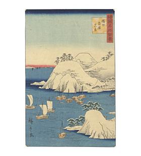 hiroshige II utagawa, View of Muro Harbor, Banshu (Harima) Province, One Hundred Famous Views in the Various Provinces
