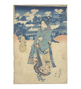 Eisen Keisai, Beauty in Kimono, Ueno, Eight Views of Edo