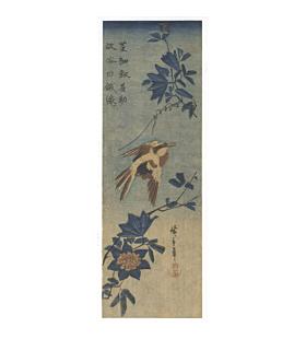 hiroshige I utagawa, bird and flower, Canary and Clematis