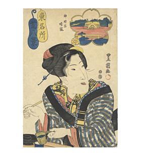 Toyokuni II Utagawa, Summer Breeze at Shiba Shinmei-gu, Famous Places of the East, Eight Views of Shiba