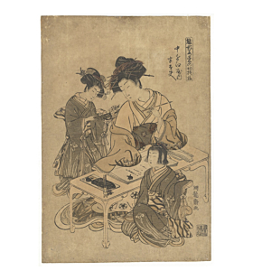 koryusai beauties, Models for Fashion - New Year Designs as Fresh as Young Leaves, edo
