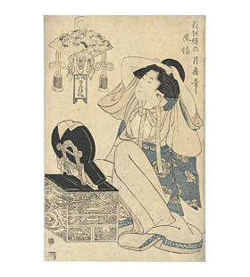 Tsukimaro Kitagawa, Courtesan and Fashionable Hair Arrangement, Edo Beauty