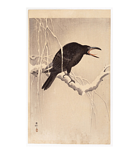 koson ohara, Cawing Crow in Snow, winter, bird print