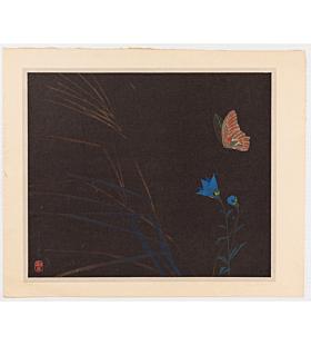 mokuchu urushibara, Butterfly and Bellflower