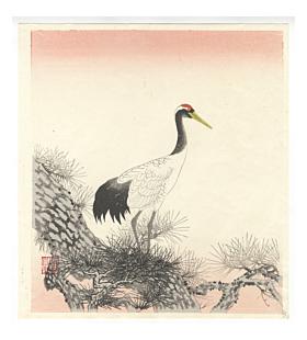 ito nisaburo, white crane, pine tree, auspicious symbols