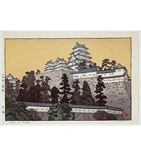 toshi yoshida, castle at himeji, white heron, landscape, shin hanga, modern print