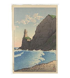 hasui kawase, Setakamu Rocks in Shiribe, landscape, shin hanga