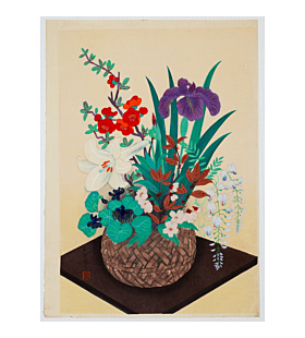 Bakufu Ono, Spring Flowers in Bamboo Basket, Still Life