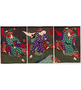 yoshitaki utagawa, Kabuki Play, Goshikigumo Mitsu no Tamajishi(五色雲三玉獅子