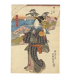 toyokuni III utagawa, cherry blossoms, sakura, sumida river, edo