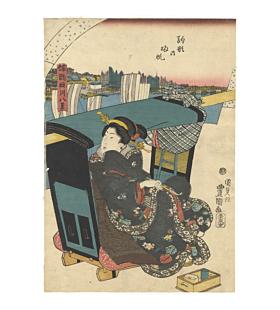toyokuni III utagawa, Returning Boats at Komagata, sumida, beauty