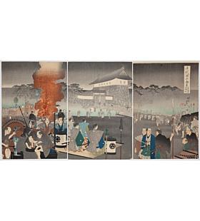 chikanobu yoshu, Daimyo Procession Arriving at Edo Castle, Outer Palace of Chiyoda