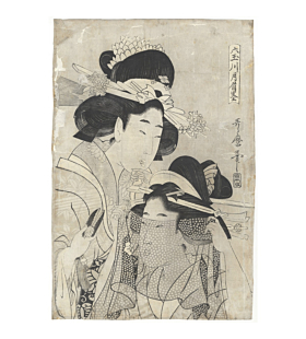Utamaro II Kitagawa, Women with a Sheer Cloth, Edo Beauty