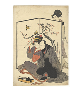 Abuna-e, Young Lovers Behind a Screen, attributed to Utamaro Kitagawa, erotic, shun-ga