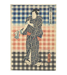 toyokuni III utagawa, Actor Ichikawa Danjuro IX, Three Pattterns of Benkei Check (御誂え三色弁慶), tattoo design, japanese irezumi