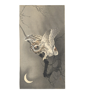 koson ohara, owl and crescent moon, bird print